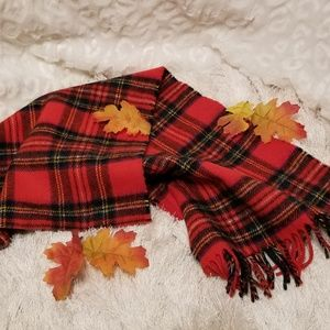 Red Tartan Plaid Wool Scarf